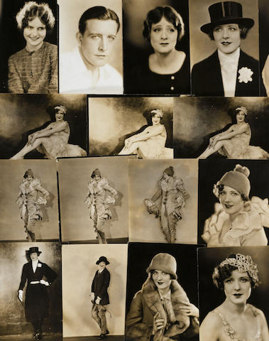 20 photos of Marilyn Miller, including as Sunny (clown costume), as a ballerina in the Ziegfeld Follies, in a riding costume, in a fur-trimmed coat and wearing white tie and a top hat. 3 photographs (one each) of John Boles, Lois Moran, and Irene Rich.  $200-300