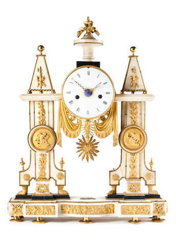 Gilt mounted marble portico clock, a la croix a Paris