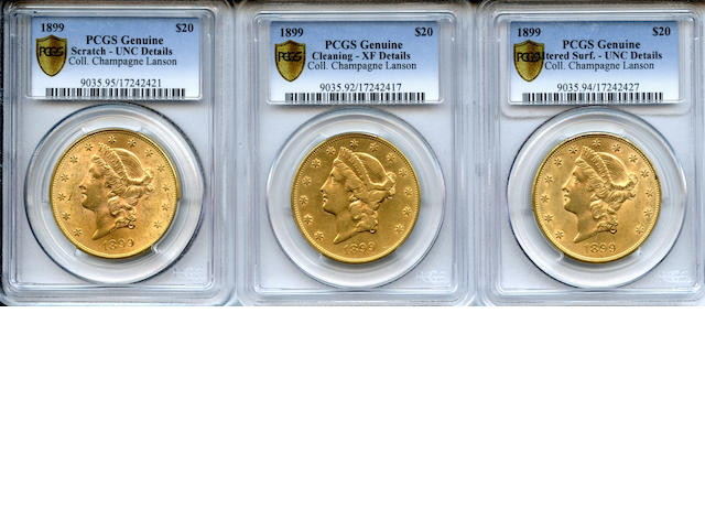 1899 $20 Genuine PCGS (3) Scratch - UNC Details; Cleaning - XF Details; Altered Surf - UNC Details