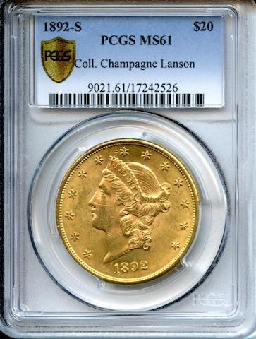 1892-S $20 MS61 PCGS