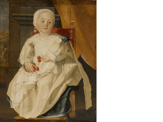 Circle of Cornelis de Vos (Hulst 1585-1651 Antwerp) A portrait of a young child, full-length, seated, holding a bunch of cherries 28 x 22 1/2in (71.1 x 57.2cm)