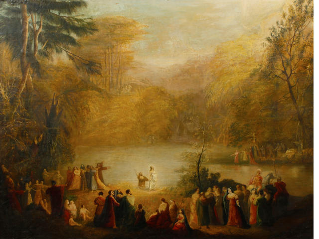 English School, 19th Century Christ preaching 39 x 51in