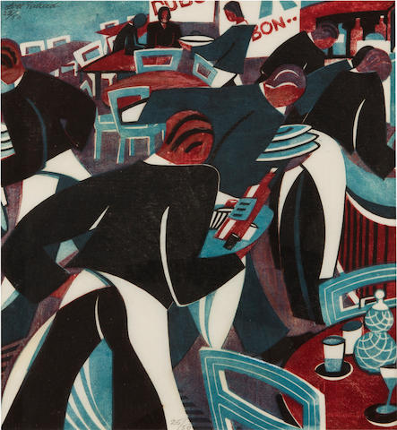 Lill Tschudi (Swiss, 1911-2001) Waiters (Coppel LT 47) Linocut printed in dark blue, light blue and reddish brown, 1936, a strong and vibrant impression, on thin white oriental laid, signed and numbered 22/50 in pencil, with margins, 278 x 262mm (10 7/8 x 10 1/4in)(B)