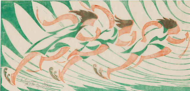 Cyril Edward Power (British, 1872-1951) The Runners Linocut printed in Venetian red and viridian, c.1930, an early richly inked impression, on buff oriental laid tissue, signed, titled and numbered 7/50 in pencil, with margins, 174 x 350mm (6 7/8 x 13 6/8in)(B)