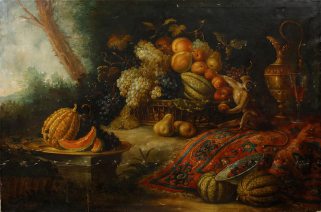 Italian School, 20th Century A still life with peaches, grapes, pears and melons 39 1/4 x 59in unframed