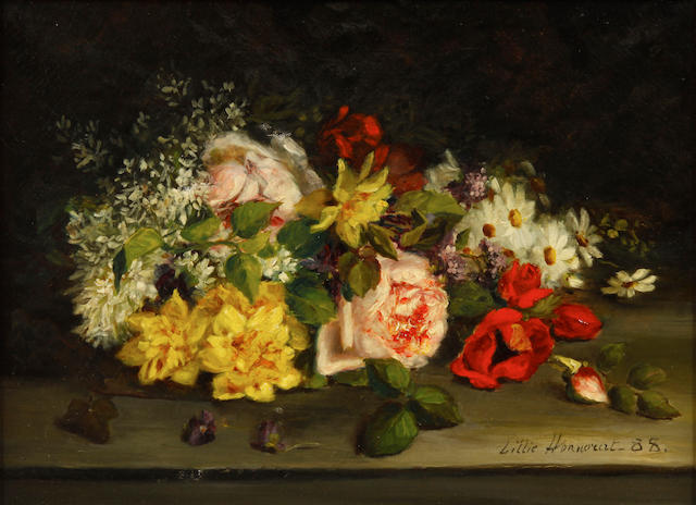 Lillie  Honnorat A still life with flowers 11 3/4 x 16in