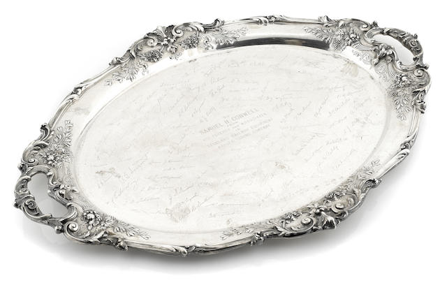 A Reed & Barton sterling silver 'Francis I' two-handled tray
