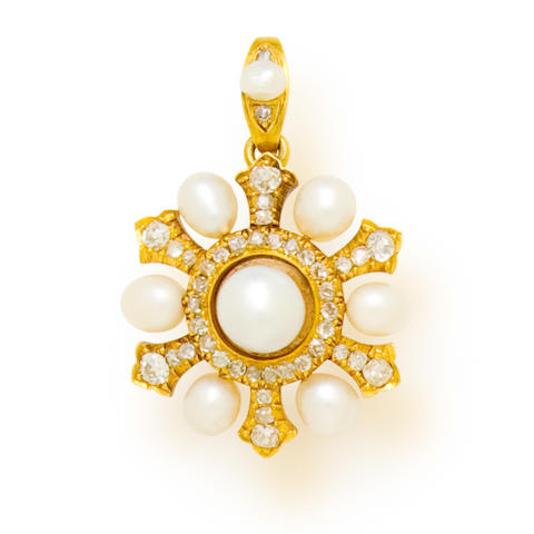 An antique natural pearl and diamond pendant,