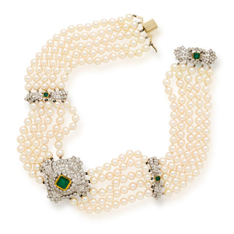 An emerald, diamond and cultured pearl collar necklace