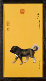 A set of ten framed Chinese porcelain plaques depicting the Emperor's dogs<BR />after Giuseppe Castiglione (Lang Shi'ing) (1688-1766)