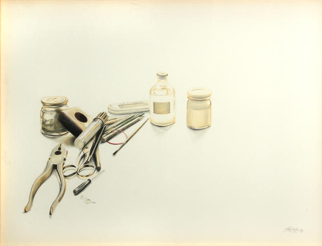 Stefan Beltzig, Artist's Tools, 1978; Tools with Brush, 1978 (2) each 14 x 18 1/2in
