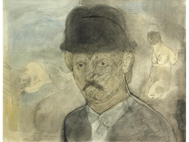 Jose Luis Cuevas, Self Portrait, 1978 sight 19 1/2 x 25 1/4in