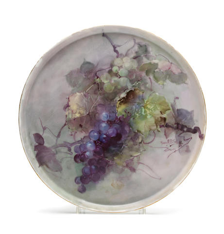 Franz Arthur Bischoff (American, 1864-1929) Tray with green and purple grapes diameter: 13 1/2in