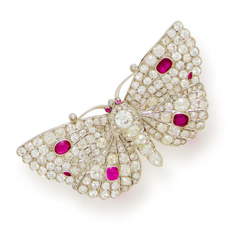 A diamond and ruby butterfly brooch, French