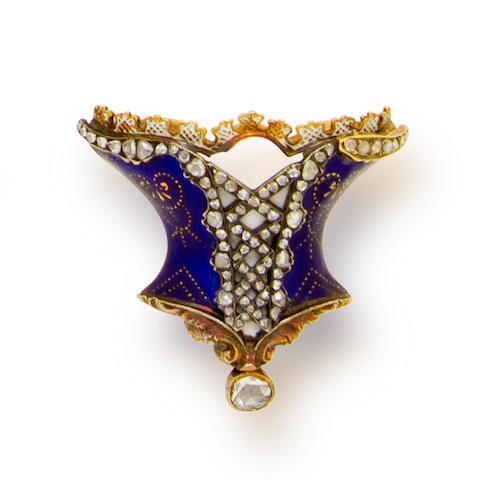An antique enamel and diamond brooch,