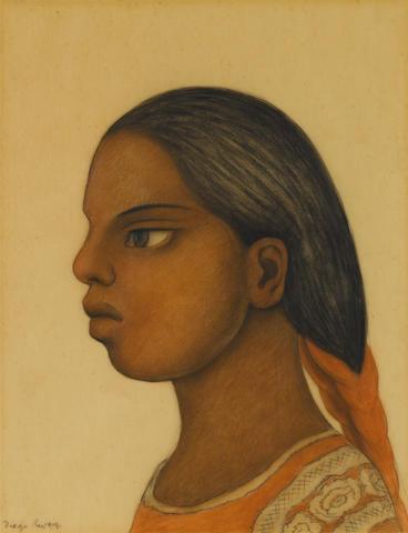 DIEGO RIVERA (1886-1957) Cabeza de muchacha 13 7/8 x 11in. (35.2 x 28cm)