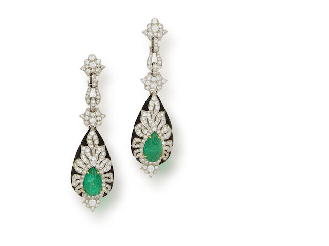 A pair of carved emerald, diamond and onyx pendant earrings