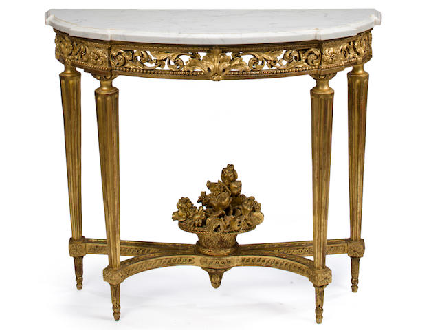 A Louis XVI giltwood console table fourth quarter 18th century