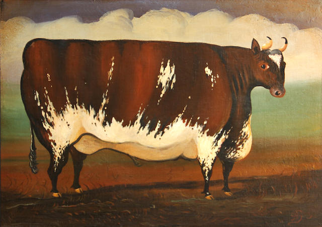 English Primitive School A bull 14 x 20in
