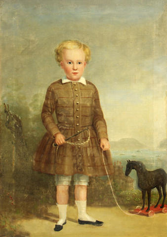 English School Portrait of a small boy with a black hobby horse oil on canvas 21 x 14 ¾in