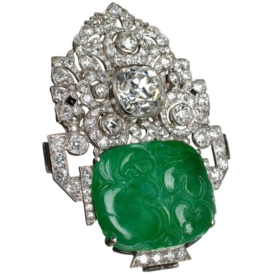 An art deco jadeite jade and diamond brooch, Mauboussin,