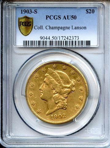 1903-S $20 AU50 PCGS
