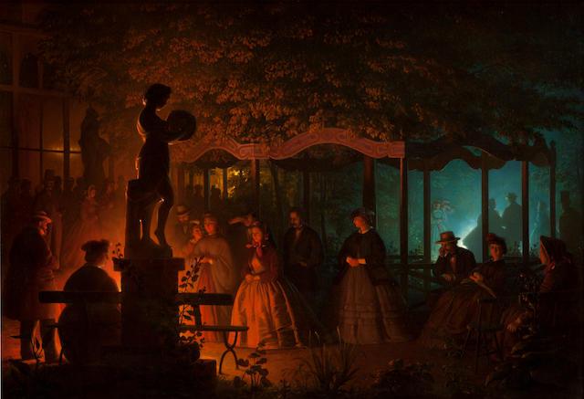 Petrus van Schendel (Belgian 1806-1870) Soirée de feux de Bengale au Vaux-Hall, Parc de Bruxelles 27 3/16 x 39in (69 x 99cm)