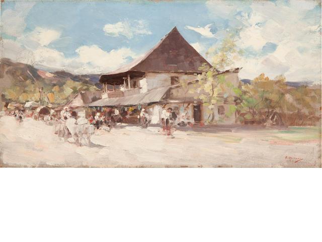 Nicolae Grigorescu (Romanian, 1838-1907) A pub in Rucar  9 1/2 x 17 3/4in (24.2 x 45cm)