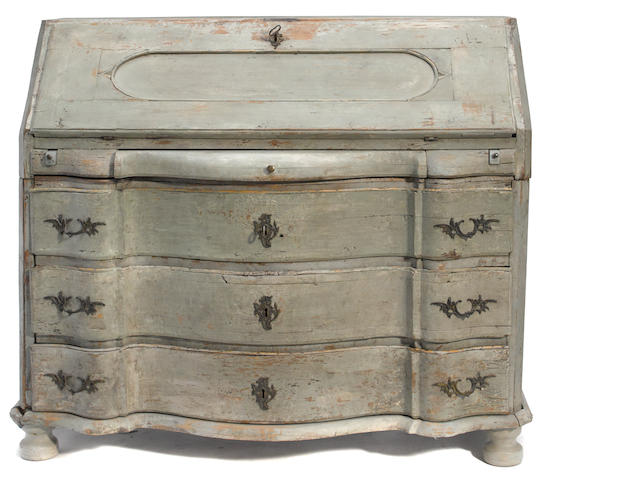 A Swedish Rococo paint decorated bureau