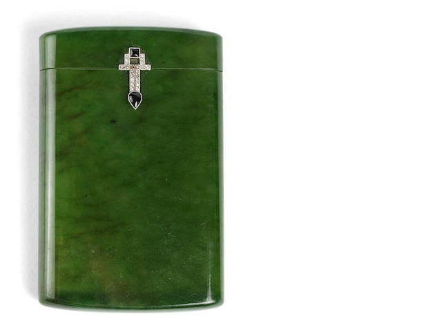 French Nephrite Cigarette Case with Platinum, Diamond and Onyx Deco Detailing, hallmarked, circa 1930.