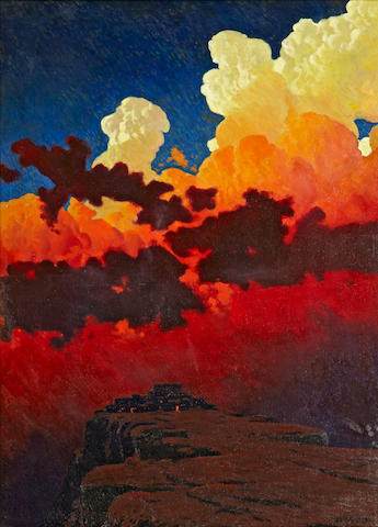 James Swinnerton (American, 1875-1974) Walpi, Arizona, 1919 47 x 34in