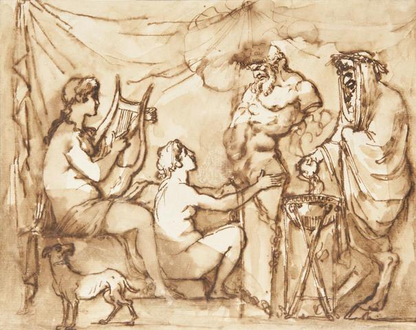 Etienne de Lavallée-Poussin (French, 1733-1793) Sacrifice to Priapus 6 1/2 x 8in (6.5 x 20.3cm)