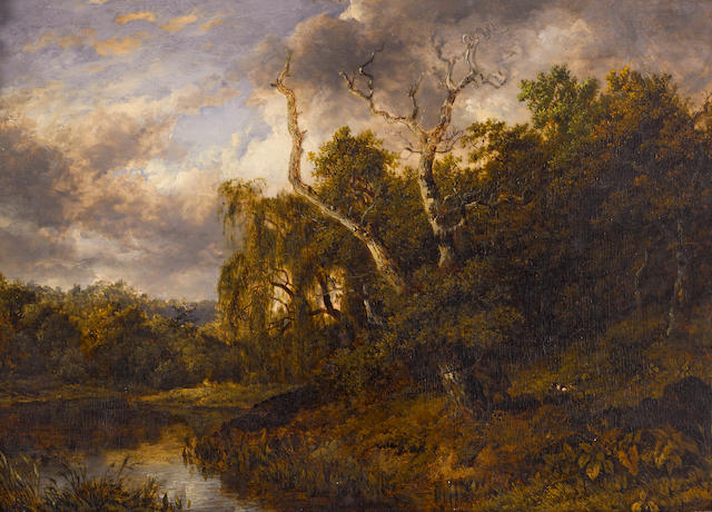 Attributed to Patrick Nasmyth (Scottish, 1787-1831) A river landscape with a hunter and his dog 10 3/4 x 15in (27.3 x 38.1cm)