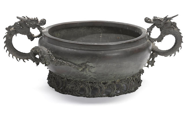 A Chinese (Japanese?) cast bronze censer with dragon handles Qing dynasty 19th century