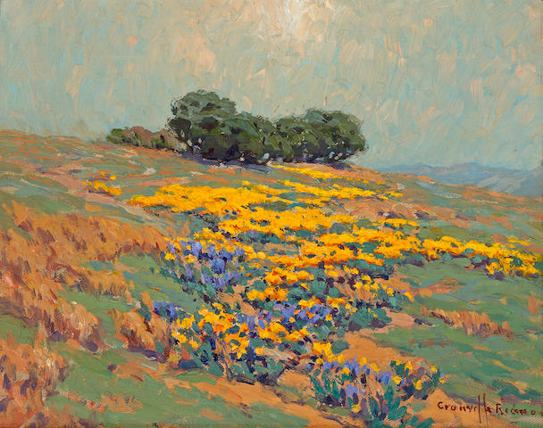 Granville Redmond (American, 1871-1935) Poppies on a hillside 11 1/4 x 14in