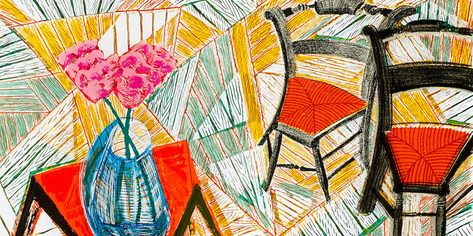 David Hockney (born 1937); Walking Past Two Chairs, from Moving Focus;