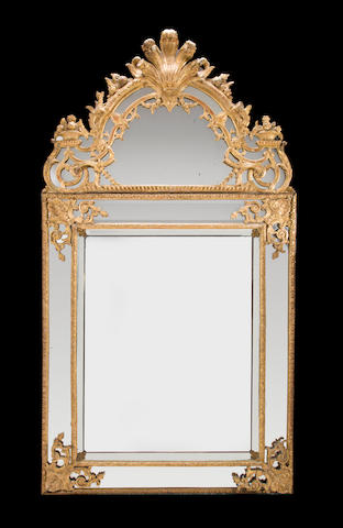 A Régence giltwood mirror<BR />first quarter 18th century