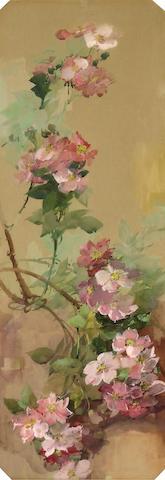 Franz Arthur Bischoff (American, 1864-1929) Pink wild roses 29 1/2 x 11in