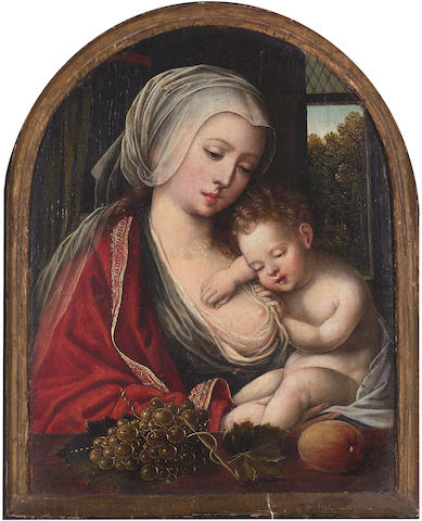 Follower of Joos van Cleve (probably Cleves circa 1485-circa 1540 Antwerp), circa 1600 The Virgin and sleeping Christ Child arched top, 9 x 7 1/4in (22.9 x 18.3cm)