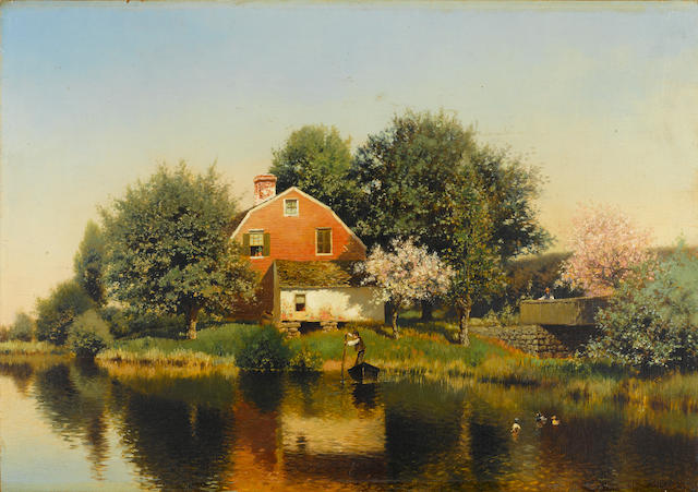 Henry Pember Smith (American, 1854-1907) Red barn