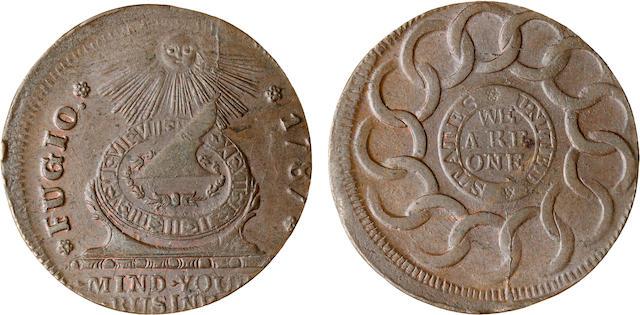 1786 Fugio Cent, STATES UNITED, 4 Cinquefoils on Obverse