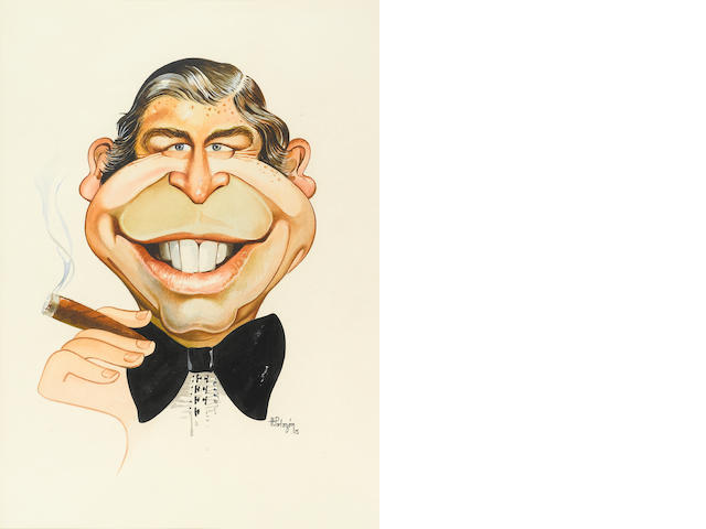 Collection of Milton Berle caricatures and other framed artwork