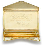 A gold cigarette case gifted by Barbara Stanwyck to Robert Taylor