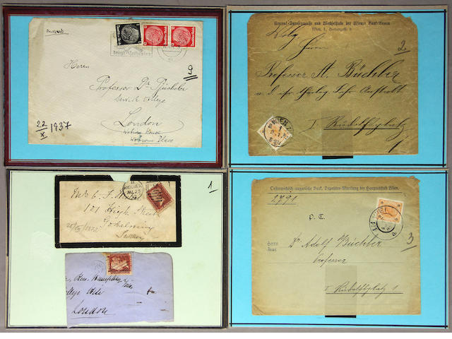 A grouping of stamps, postcards and cigarette cards Comprising 11 boxes of various stamps, stamp albums, postcards and cigarette cards.