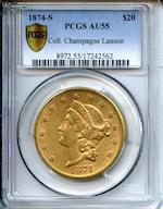 1874-S $20 AU55 PCGS