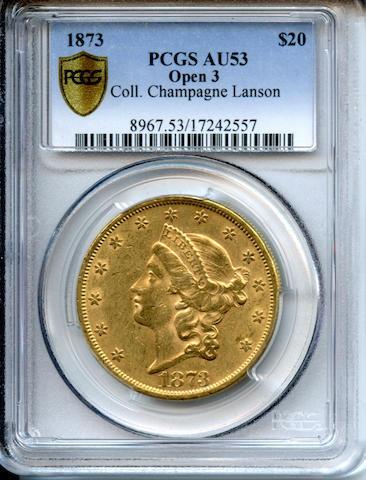 1873 $20 Open 3 AU53 PCGS