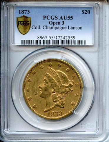 1873 $20 Open 3 AU55 PCGS