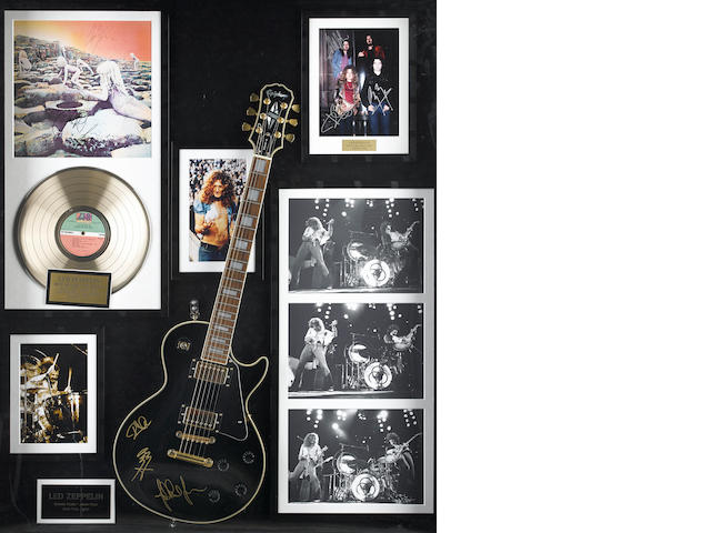 A group of signed Led Zeppelin memorabilia