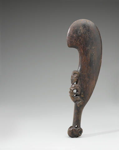 Exceptional and Rare Maori Hand Club, New Zealand length 15 5/8in (40cm)