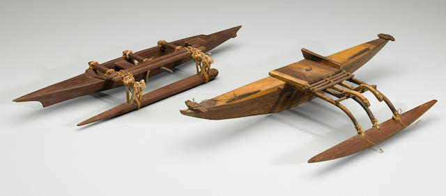 Two Model Outrigger Canoes, Micronesia